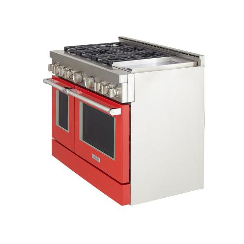 KitchenAid® 48'' Smart Commercial-Style Gas Range with Griddle - Passion Red