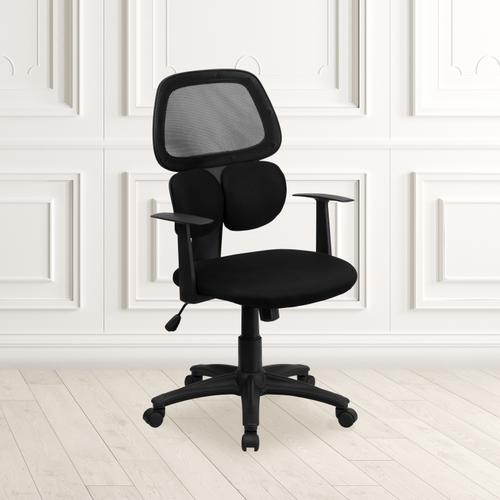 Gallery - Mid-Back Black Mesh Swivel Task Office Chair with Flexible Dual Lumbar Support and Arms