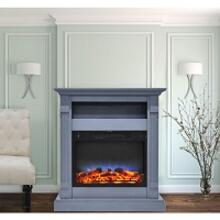 Cambridge Sienna 34 In. Electric Fireplace w/ Multi-Color LED Insert and Slate Blue Mantel, CAM3437-1SBLLED