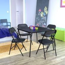 View Product - 5 Piece Black Folding Card Table and Chair Set