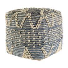 See Details - Rofi Blue Denim and Ivory Cotton Stitched Square Pouf