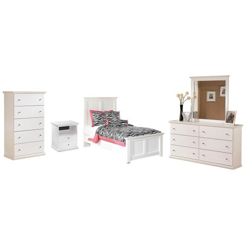 Twin Panel Bed With Mirrored Dresser and Chest