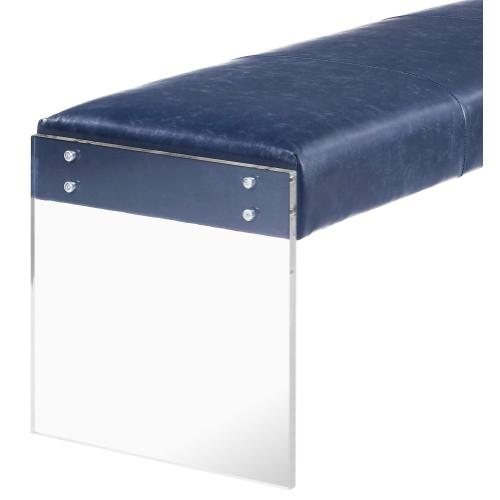 Product Image - Envy Antique Blue Leather/Acrylic Bench