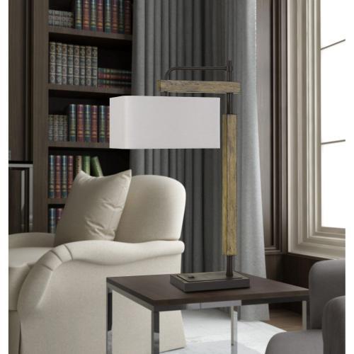 Alloa Metal/Wood Desk Lamp With Rectangular Linen Shade