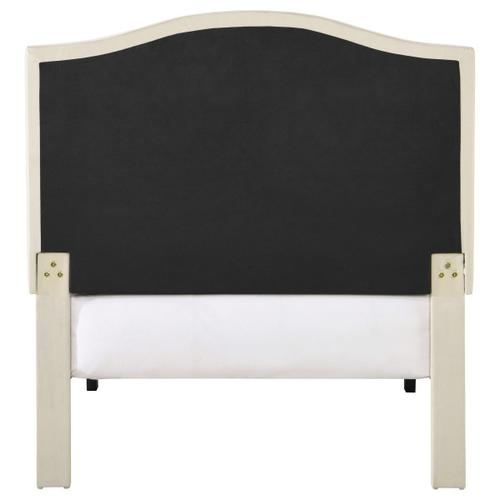 Arched, Nailhead Trim Upholstered Twin Platform Bed in Beige