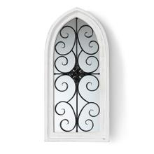 See Details - Baxton Studio Raum Vintage Classic and Traditional Weathered White Finished Wood and Black Finished Metal Arched Accent Wall Mirror