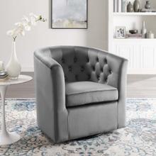 Prospect Tufted Performance Velvet Swivel Armchair in Light Gray