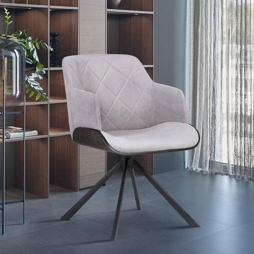 Puma Contemporary Dining Chair in Black Powder Coated Finish with Grey Velvet and Black Brushed Wood Finish