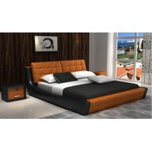 Modrest D539 Modern Orange & Black Bonded Leather Bed