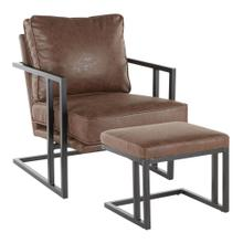 Roman Lounge Chair + Ottoman - Black Metal, Espresso Pu