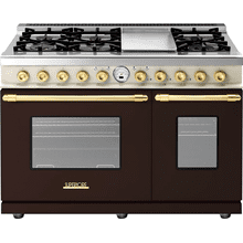 Range DECO 48'' Classic Brown dual color, Gold 6 gas, griddle and 2 electric ovens