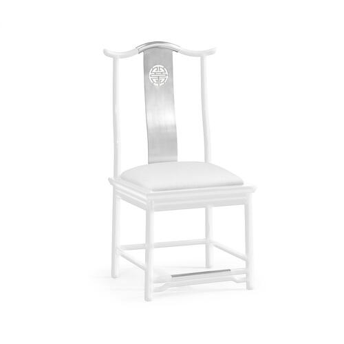 Asian Fusion White Gloss & Stainless Steel Dining Side Chair, Upholstered in COM