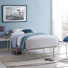 Horizon Twin Stainless Steel Bed Frame in Gray