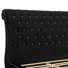 See Details - Evora Black Velvet Upholstered Crystal Button Tufted Sleigh Bed, QUEEN & KING, King