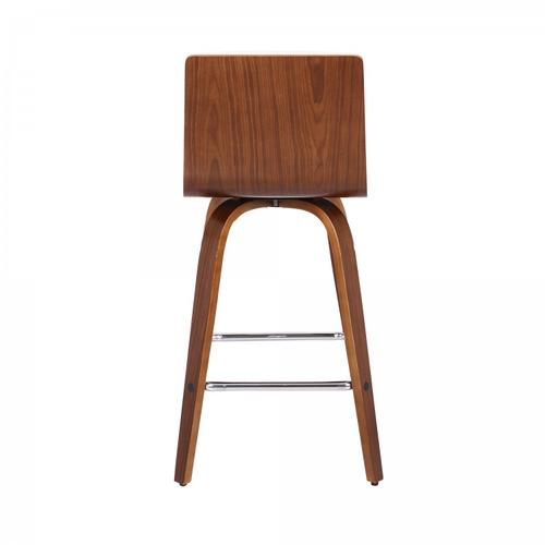 """Vienna 26"""" Counter Height Barstool in Walnut Wood Finish with Cream Faux Leather"""