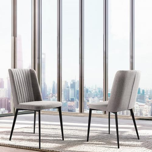Armen Living - Armen Living Maine Contemporary Dining Chair in Matte Black Finish and Gray Fabric - Set of 2