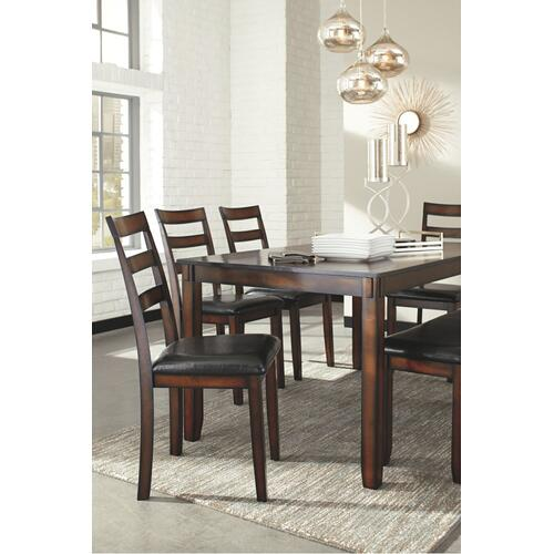 Coviar Table & 4 Upholstered Chairs & Bench Brown