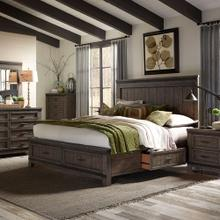 King Two Sided Storage Bed, Dresser & Mirror, Chest, Night Stand
