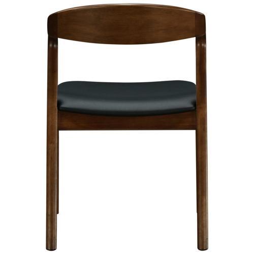 New Pacific Direct - Swansea KD PU Dining Side Chair Dark Walnut Frame, Black