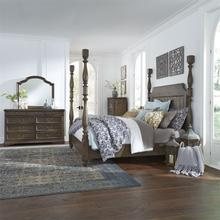 King Poster Bed, Dresser & Mirror, Chest