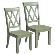 Vintage Distressed 2-Pack Green Side Chairs Product Image