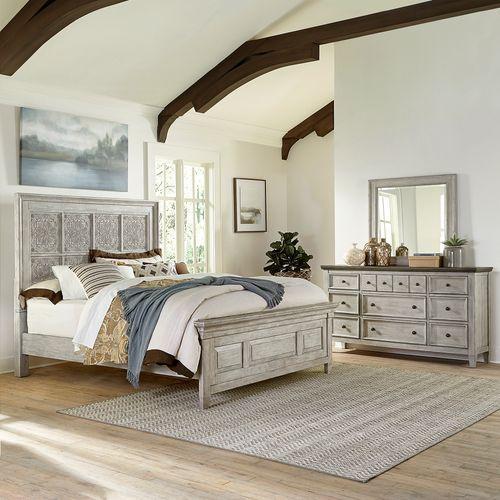 King Opt California Panel Bed, Dresser & Mirror