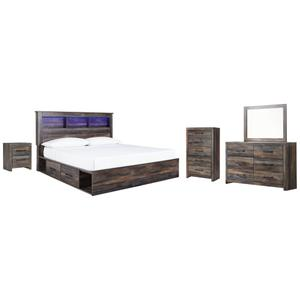 Ashley - King Bookcase Bed With 2 Storage Drawers With Mirrored Dresser, Chest and Nightstand