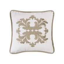 Madison White Linen Pillow W/ Velvet Embroidery, 2 Colors, 18x18 - Oatmeal