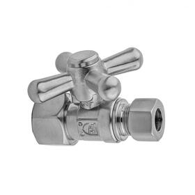 "Satin Brass - Quarter Turn Straight Pattern 3/8"" IPS x 3/8"" O.D. Supply Valve with Standard Cross Handle"