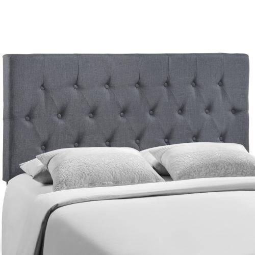 Clique Queen Upholstered Fabric Headboard in Smoke