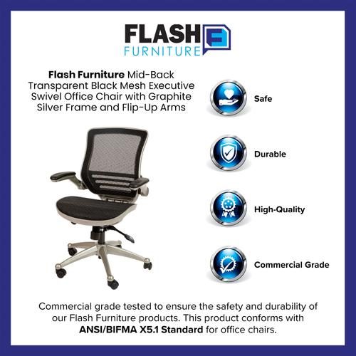 Gallery - Mid-Back Transparent Black Mesh Executive Swivel Office Chair with Graphite Silver Frame and Flip-Up Arms