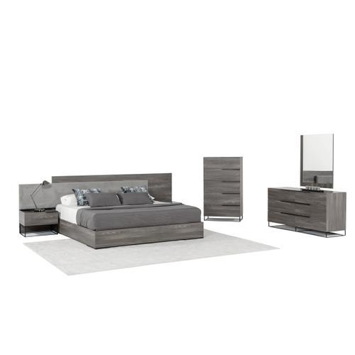 Nova Domus Enzo Italian Modern Grey Oak & Fabric Bed w/ Nightstands