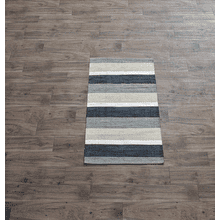 Hand Woven Grey Striped 2 1/2' x 4' Rug