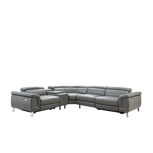Divani Casa Easton Modern Dark Grey Leather Sectional w/ 2 Recliners