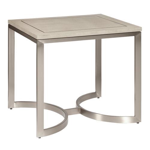 Modern Light Gray Shagreen and Metal End Table