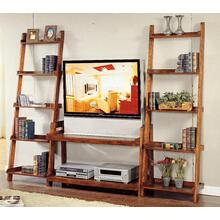 See Details - Pecan Finish Ladder TV Stand - 2 Shelves