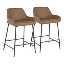 Daniella Counter Stool - Set Of 2 - Black Metal, Espresso Pu