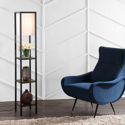 Rista Shelf Floor Lamp - Cherry / Black