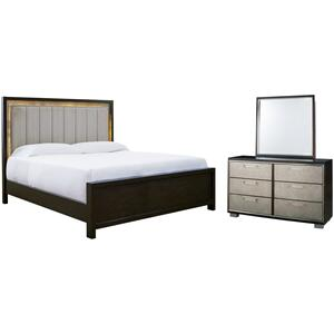 Queen Upholstered Panel Bed With Mirrored Dresser
