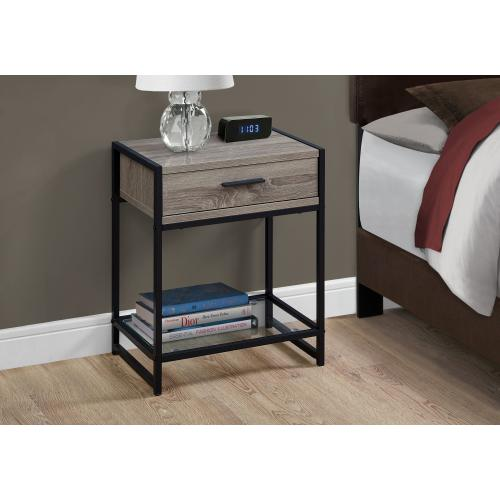 """Gallery - ACCENT TABLE - 22""""H / DARK TAUPE / BLACK / TEMPERED GLASS"""