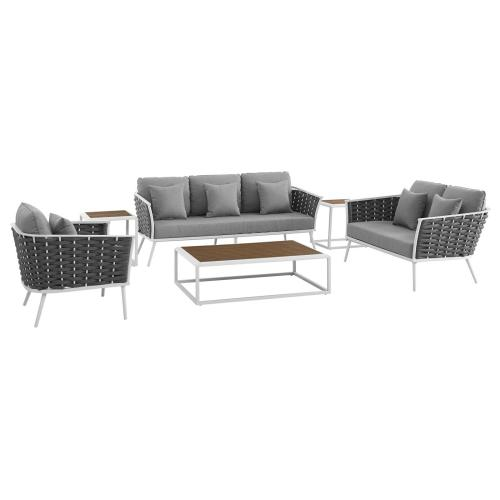 Stance 6 Piece Outdoor Patio Aluminum Sectional Sofa Set in White Gray