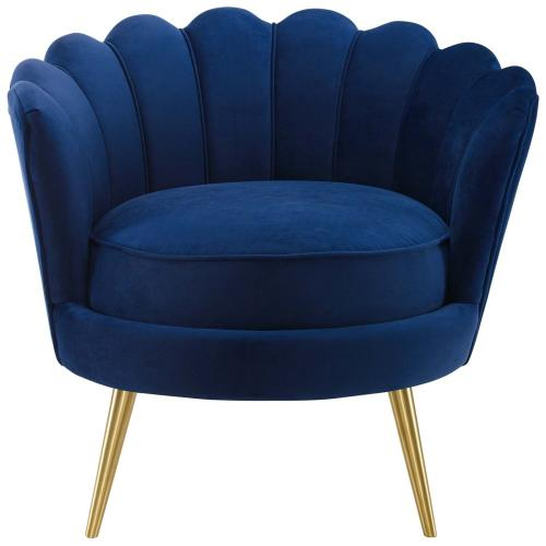 Admire Scalloped Edge Performance Velvet Accent Armchair in Navy