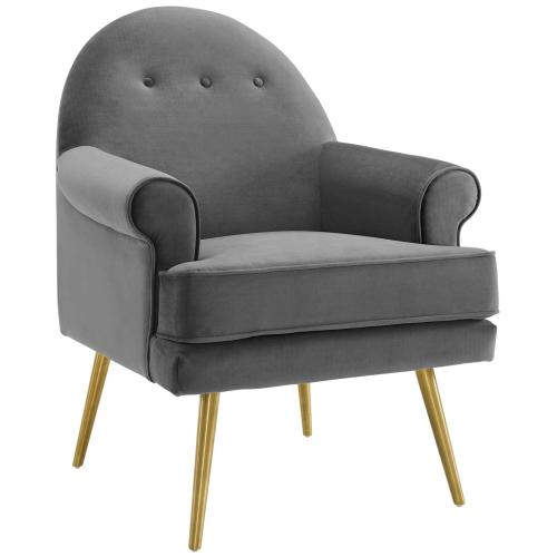Revive Tufted Button Accent Performance Velvet Armchair in Gray
