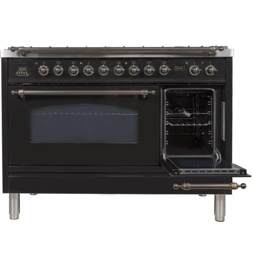 Nostalgie 48 Inch Dual Fuel Liquid Propane Freestanding Range in Glossy Black with Bronze Trim