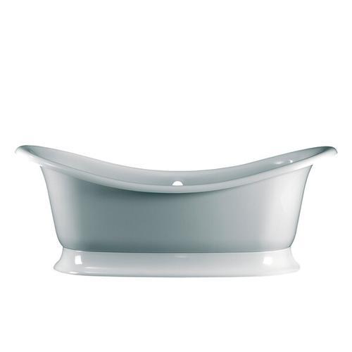Marlborough 74-7/8 Inch X 34-1/4 Inch Freestanding Soaking Bathtub in Volcanic Limestone™ with Overflow Hole - Gloss White