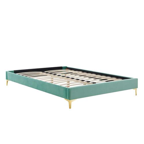 Sutton Twin Performance Velvet Bed Frame in Mint