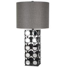 HYATT TABLE LAMP  Plain Mirror and Gunmetal Finish on Linked Disk Body  Hardback Shade  150 Watt