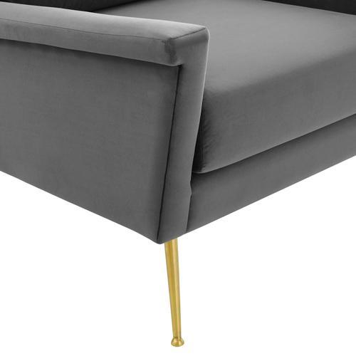 Modway - Chesapeake Performance Velvet Armchair in Gold Gray