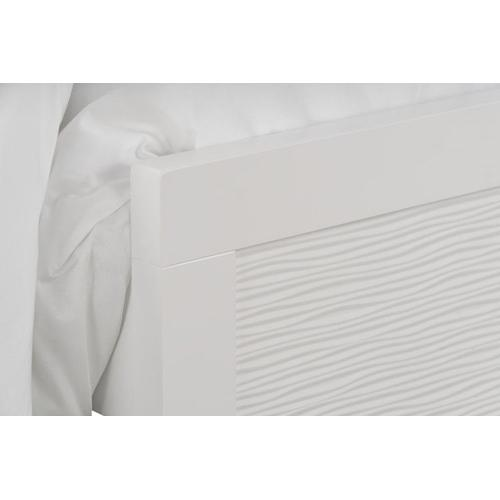 Wave Queen Panel Bed, White