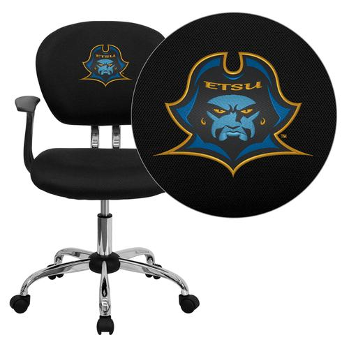 East Tennessee State University Buccaneers Embroidered Black Mesh Task Chair with Arms and Chrome Base